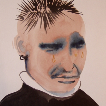 Aaron, watercolor on paper, 12 by 8 in. Emilia Kallock 2004