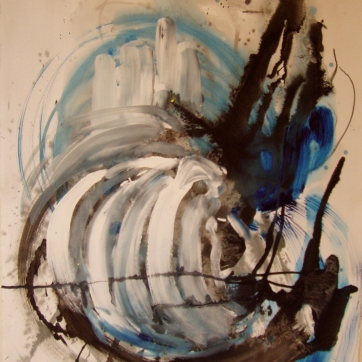 Abstract Blue and Black, acrylic and ink on paper, 20 by 13 in. Emilia Kallock 2004
