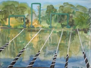 Across River, watercolor on paper, 9 by 12 in. Emilia Kallock 2006