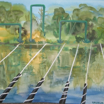 Across River, watercolor on paper, 9 by 12 in. Emilia Kallock 2006