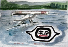 Float Plane and Eye, watercolor on paper, 4 by 6 in. Emilia Kallock 2009