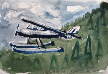 Alaska Float Plane, watercolor on paper, 5 by 7 in. Emilia Kallock 2009