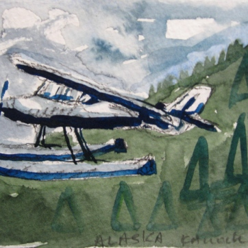 Alaska Float Plane, watercolor on paper, 5 by 7 in. Emilia Kallock 2009
