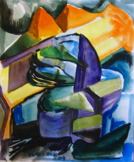 Abstract Study, watercolor on paper, 9 by 7.5 in. Emilia Kallock 2009