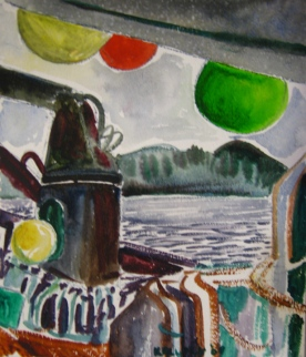 Diveboat Study 3, watercolor on paper, 11 by 8 in. Emilia Kallock 2009