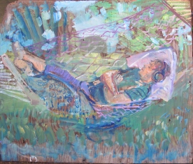 Alex in Hammock, oil on found board, 20 by 24 in. Emilia Kallock 2014