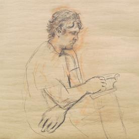 Alex Reading, charcoal on wallpaper, 12 by 12 in. Emilia Kallock 2014