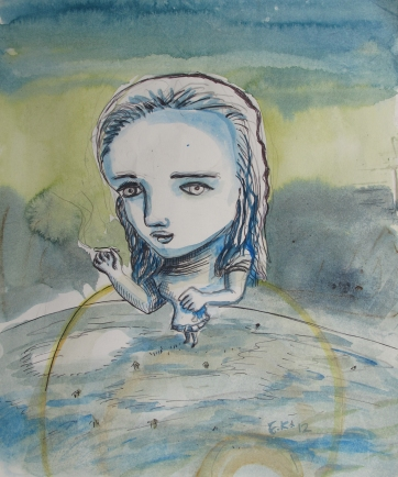 Alice 2 (study for Currency) watercolor and ink on paper, 9 by 7 in. Emilia Kallock 2012