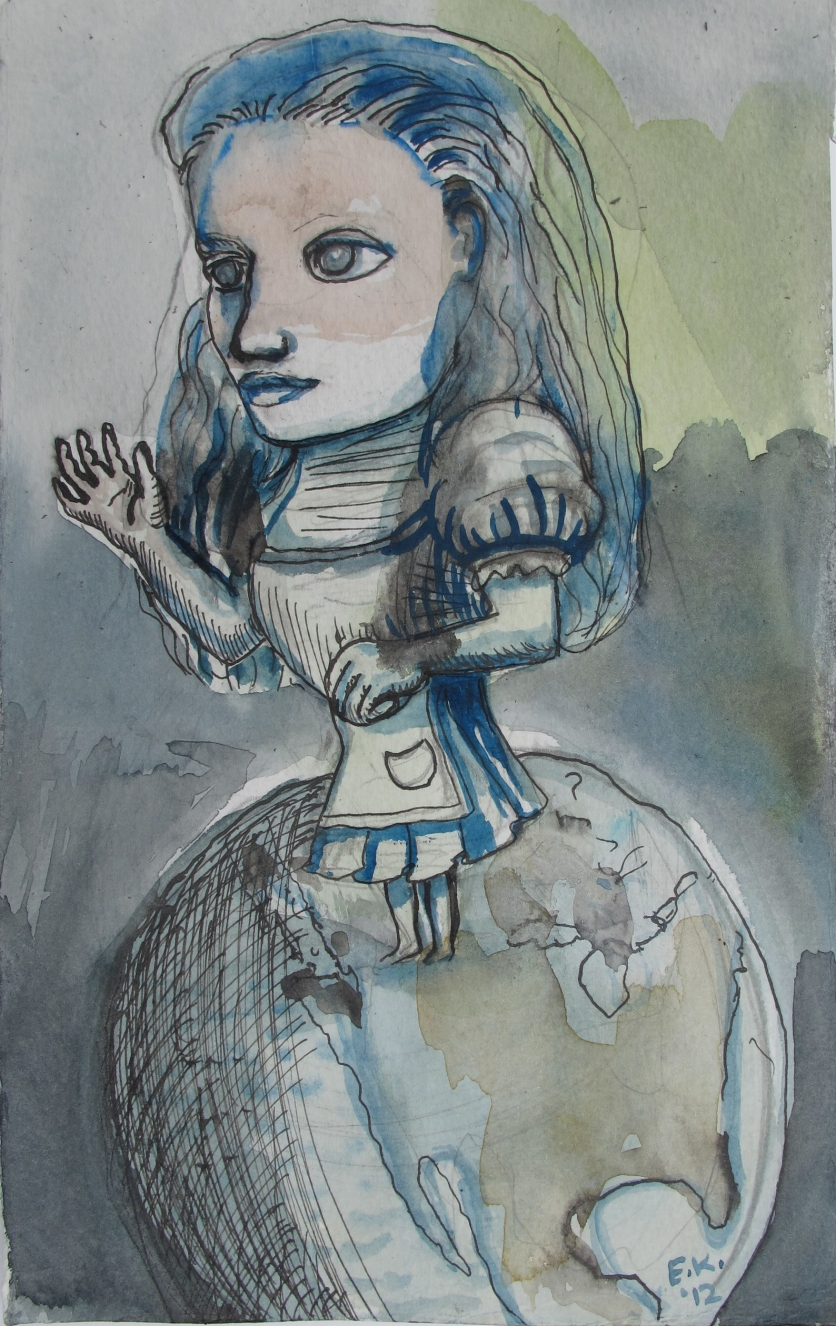 Alice 4 (study for Currency) watercolor on paper, 10 by 6 in. Emilia Kallock 2012