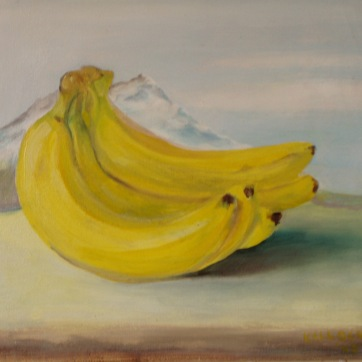 Bananas and Mountain, oil on canvas, 17 by 18 in. Emilia Kallock 2004