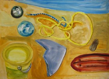 Beach Objects, gouache on paper, 20 by 26 in. Emilia Kallock 2008