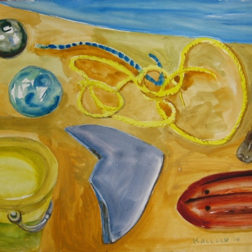 Beach Objects, gouache on paper, 20 by 26 in. Emilia Kallock 2008