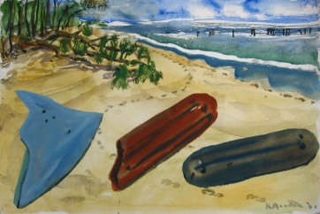 Beach Objects, watercolor on paper, 12 by 20 in, Emilia Kallock 2008