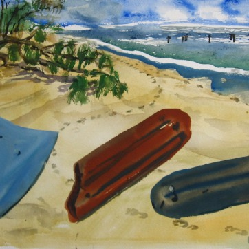 Beach Objects, watercolor on paper, 12 by 20 in, Emilia Kallock 2008