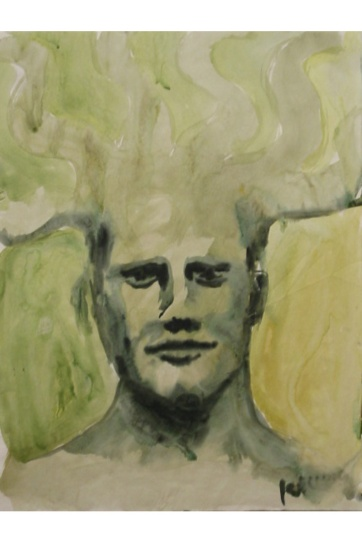Ben Mythological, watercolor on paper, 24 by 18 in. Emilia Kallock 2002