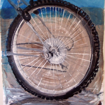 Bike Wheel, acrylic on paper, 35 by 35 in. Emilia Kallock 2004