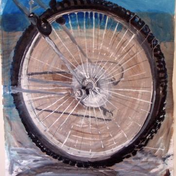 Bike Wheel, acrylic on paper, 35 by 35 in. Emilia Kallock 2004