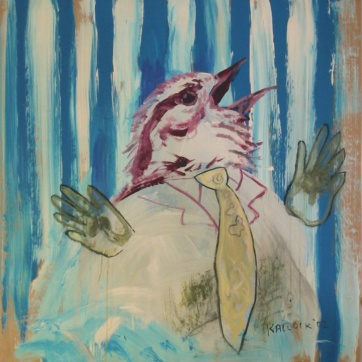 Bird with Stripes, acrylic and chalk pastel on paper, 35 by 35 in. Emilia Kallock 2002