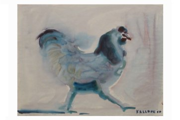 Blue Rooster, watercolor on paper, 18 by 12 in. Emilia Kallock 2002
