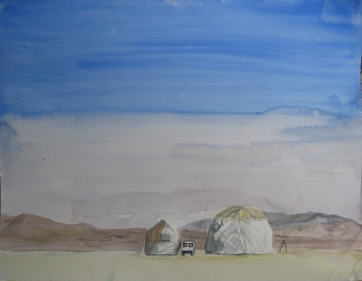 Burning Man, watercolor on paper, 8 by 7 in. Emilia Kallock 2006