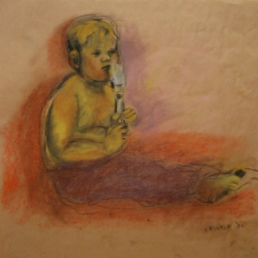 Boy and Paintbrush, chalk pastel on paper, 24 by 24 in. Emilia Kallock 2002
