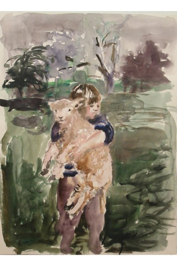 Boy with Lamb, watercolor on paper, 18 by 14 in. Emilia Kallock 2002