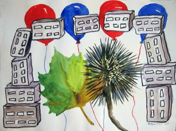 Bricks, Leaves and Balloons, pastel and watercolor on paper, 18 by 24 in. Emilia Kallock 2008
