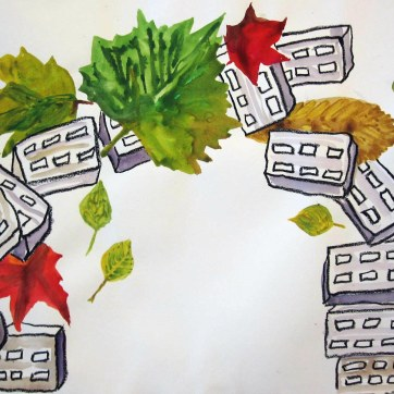 Bricks and Leaves, pastel and watercolor on paper, 18 by 24 in. Emilia Kallock 2008