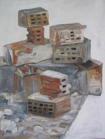 Bricks, oil on canvas, 28 by 21 in. Emilia Kallock 2005