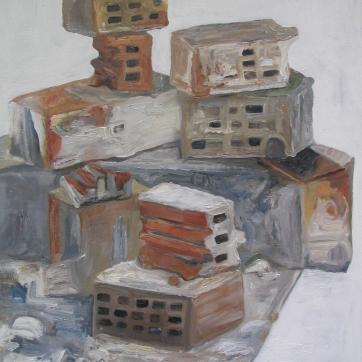 Bricks, oil on canvas, 28 by 21 in. Emilia Kallock 2005