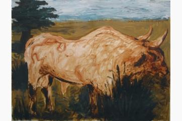 Bull, Dark Trees, oil on paper, 34 by 42 in. Emilia Kallock 2002