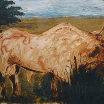Bull, Dark Trees, oil on paper, 34 by 42 in. Emilia Kallock 2002