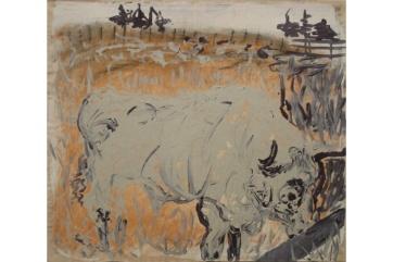 Bull, Grey, oil on paper, 28 by 19 in. Emilia Kallock 2002