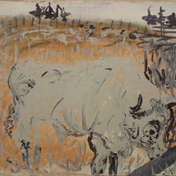 Bull, Grey, oil on paper, 28 by 19 in. Emilia Kallock 2002