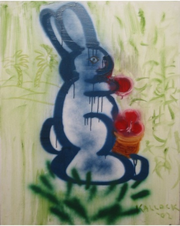 Bunny 2, oil and spraypaint on board, 36 by 28 in. Emilia Kallock 2002