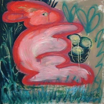 Bunny, oil and spraypaint on canvas, 37 by 37 in. Emilia Kallock 2002