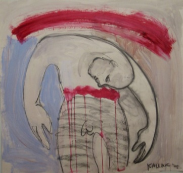 Burdened Man, acrylic on paper, 34 by 34 in. Emilia Kallock 2002