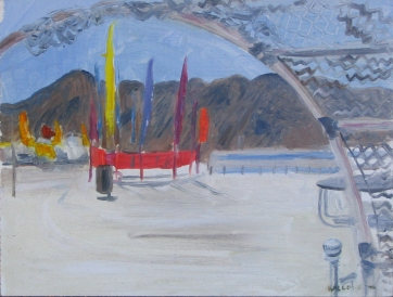 Burning Man 3, oil on board, 6 by 7 in. Emilia Kallock 2006