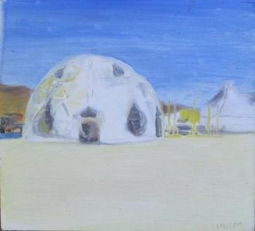 Burning Man 6, oil on board, 6 by 7 in. Emilia Kallock 2006