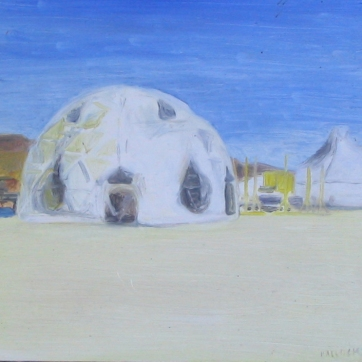 Burning Man 6, oil on board, 6 by 7 in. Emilia Kallock 2006