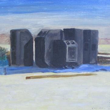 Burning Man 7, oil on board, 6 by 7 in. Emilia Kallock 2006
