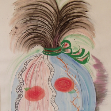 Burst-Baroque, watercolor, acrylic and charcoal on paper, 24 by 18 in. Emilia Kallock 2004