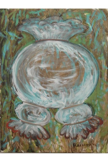 Burst, Contained, acrylic on board 28 by 22 in. Emilia Kallock 2002
