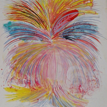 Burst-Contradictory, acrylic on paper, 55 by 46 in. Emilia Kallock 2005