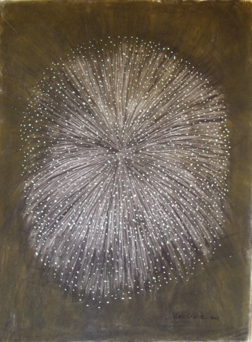Burst-Fireworks, acrylic and charcoal on paper, 41 by 29 in. Emilia Kallock 2004