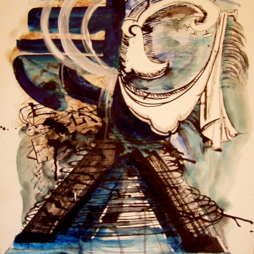 Burst-Outfit, watercolor on paper, 18 by 14 in. Emilia Kallock 2004