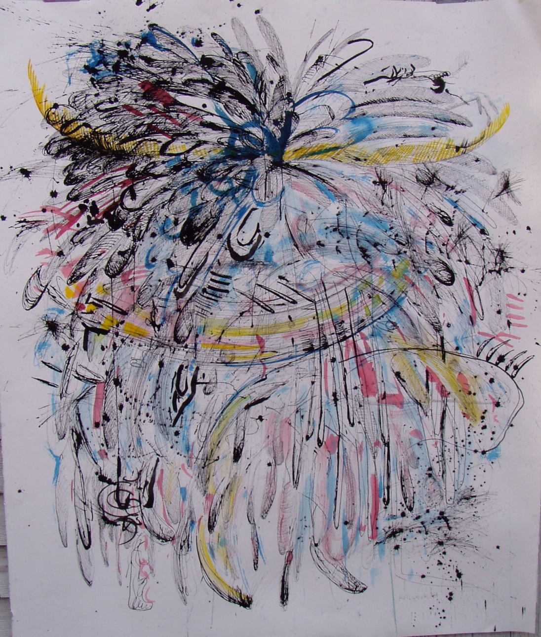 Burst-Primary Colors, ink and watercolor on paper, 55 by 46 in. Emilia Kallock 2005