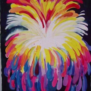 Burst-Psychedelic, watercolor on paper, 60 by 45 in. Emilia Kallock 2005