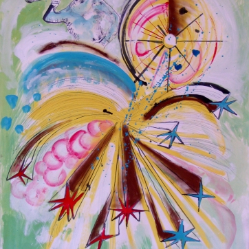 Burst-Sailor Boy, acrylic and chalk pastel on paper, 24 by 18 in. Emilia Kallock 2003