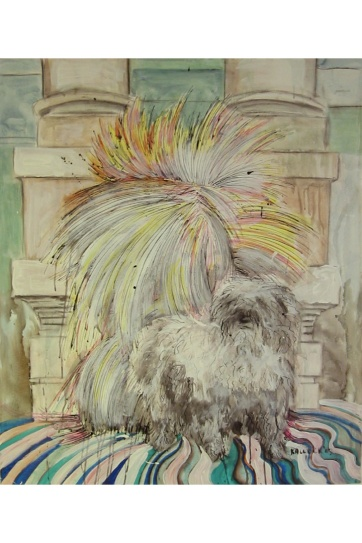 Burst-Shaggy Dog, acrylic and ink on paper, 41 by 36 in. Emilia Kallock 2004
